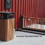 Deluxe Bike Rack and Heritage Recycled Plastic Waste Receptacle