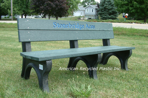 Recycled Plastic Bench Deluxe Park Green 6ft