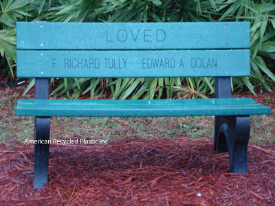 Recycled Plastic Bench Deluxe Park Green 4ft