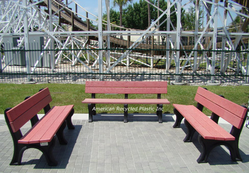Deluxe Park Bench Recycled Plastic Red Trio
