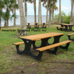 Legacy Picnic Table, shown in 8' size in Cedar for waterfront HOA common areas. Comes in your choice of 6 colors, 15 year warranty. Stainless hardware. USA made.