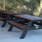 Standard Picnic Table 6' Long, Shown in Brown with standard Black Frame. Choice of 6 colors, two-tone options are available, 15 year warranty. Stainless hardware, made in USA.