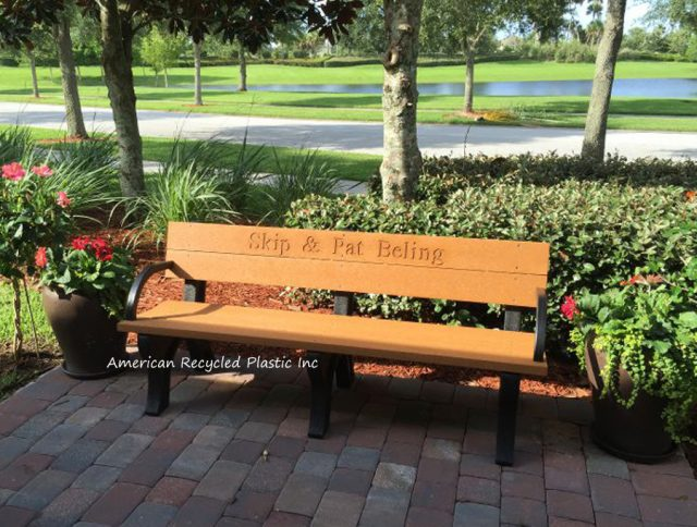 Deluxe Park Bench with Armrests, 6' Size, in Cedar color with custom routing